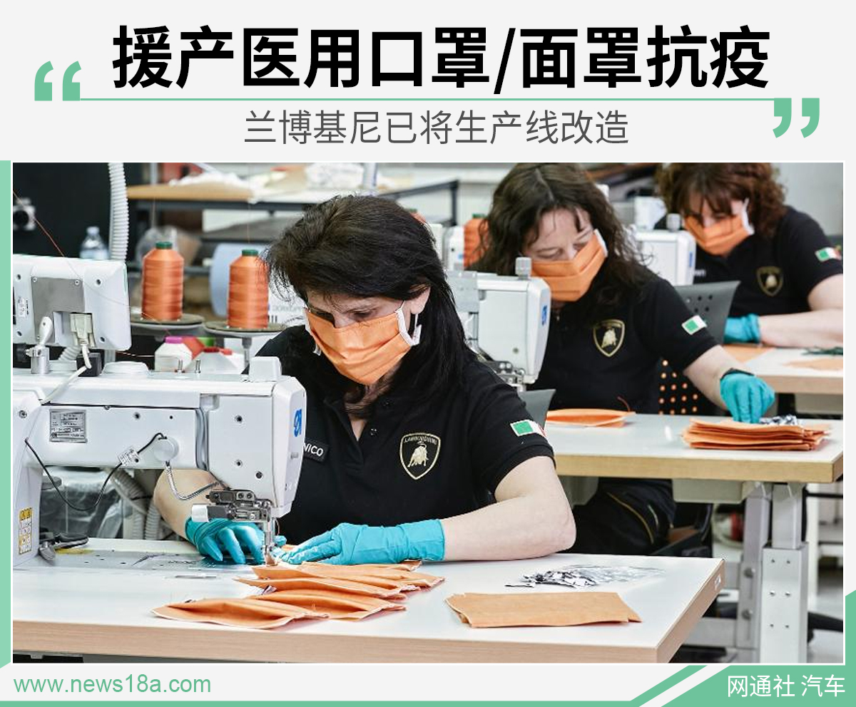 兰博基尼已将生产线改造 援产医用口罩/面罩抗疫